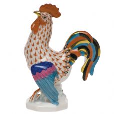 Herend Porcelain Fishnet Figurine of a Small Cocky Rooster